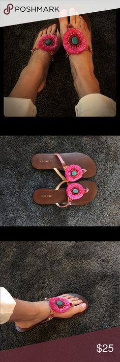 NEW, FUN, BRIGHT Nine West Flip Flops SZ 8 1/2 Brand New Nine West Flip Flops Adorned with a Beautiful Fuchsia Flower and Multi Colored beading on the Sides. Nine West Shoes Sandals