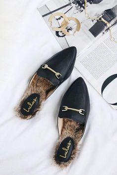4d44c810240 Antonia Black Faux Fur Loafer Slides - Lulus