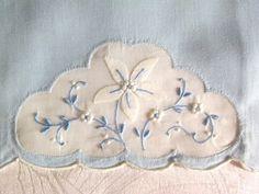 Antiques Antique Pastel Blue Sheer Organdy Floral Embroidered Dresser Piece Unused