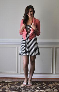 Cute chevron stripe dress and coral cropped blazer