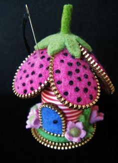My little striped spool flower pincushion by woolly  fabulous, via Flickr
