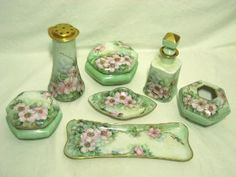 Antique Dresser Vanity Set Trays Boxes Talcum Shaker Perfume Hand Painted Porcelain