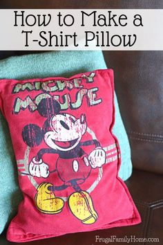 If you have a favorite t-shirt don't throw it out recycle old t-shirts into colorful pillows instead. This is how to make a t-shirt pillow for yourself. It's easy to do taking about 15 minutes from start to finish. I love to make these using my kid's favorite t-shirts they've outgrown. But this craft idea is great for adult t-shirts too!