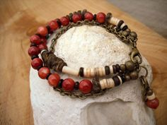 BEADED Bracelet // Rustic Organic TRIBAL MULTISTRAND // Red Brown Turquoise // Brass Chain