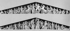 Parthenon's pediments.  Top one - depiction of the battle between the gods and the giants.  Bottom one - depiction of the birth of Athena.