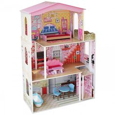 Large Children's Wooden Dollhouse Fits Barbie Doll House Pink With Furniture for sale online Barbie Furniture, Dollhouse Furniture, Kids Furniture, Furniture Price, Furniture Shopping, Large Wooden Dolls House, Pictures Of Barbie Dolls, Ideas Habitaciones, Barbie Doll House