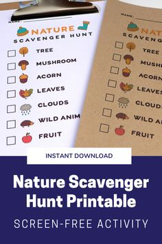 Fun outdoor scavenger hunt activity, perfect for hikes, camping trips, or even just afternoons in the backyard! Help younger kids find everything on the list, or challenge older kids to see who can tick them all off first. Camping Activites For Kids, Outdoor Activities For Toddlers, Forest School Activities, Summer Camp Activities, Summer Camps For Kids, Camping Games For Kids, Summer Fun, Outdoor Scavenger Hunts, Nature Scavenger Hunts