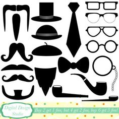 Mens accessories clip art set, 20 designs. INSTANT DOWNLOAD for Personal and commercial use.