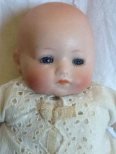 """Antique 8"""" Hermann Steiner Bisque Head Baby Doll w/ Glass Eyes! Germany - Herm"""
