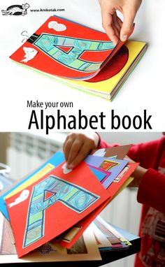 Make your own Alphabet book (krokotak) Alphabet Sounds, Alphabet Book, Animal Alphabet, Learning The Alphabet, Kids Learning, Abc Activities, Children Activities, Homemade Books, Toddler Fun