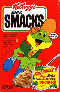 I had a glass container full of Sugar Smacks at the cereal bar at my '80s party. This picture of an '80s-era cereal box was on the container.