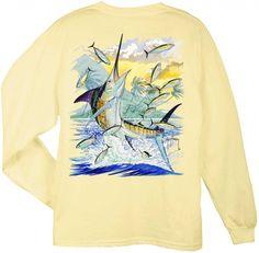 Guy Harvey Shirts - Guy Harvey Island Marlin Back-Print Long Sleeve Tee in Yellow, $21.95 (http://www.guyharveyshirts.com/guy-harvey-island-marlin-back-print-long-sleeve-tee-in-yellow/)