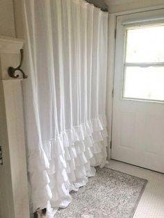 Ruffle Shower Curtain Shabby Chic Bathroom 5 Farmhouse Linen Show