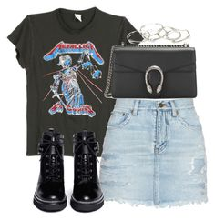 A fashion look from April 2017 featuring distressed tees, distressed denim skirts and strappy boots. Browse and shop related looks. Edgy Outfits, Retro Outfits, Cool Outfits, Summer Outfits, Fashion Outfits, Daily Fashion, Love Fashion, Korean Fashion, Moda Rock
