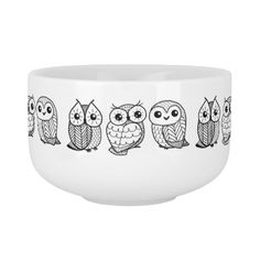 Black and white owls soup bowl with handle