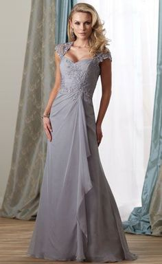 Sheath/Column V-neck Floor-length Chiffon Mother of the Bride ...