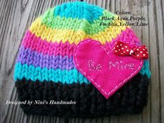 CHUNKY Knit Rainbow Valentines Heart Candy by NinisHandmades, $26.00