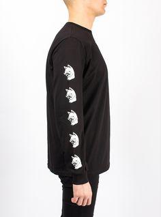 long sleeve gatos cats nine lives black print russian design sweatshirt streetwear brand    Лонгслив ГАТОС – Каталог