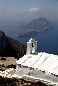 A church with a dramatic view from on top of Amorgos' spine. Thasos, Beautiful Islands, Beautiful Places, Places Around The World, Around The Worlds, Places In Greece, Greek Isles, Greece Islands, Greece Travel