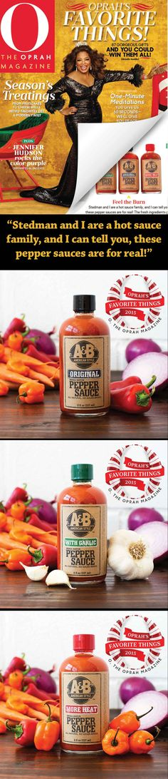 """Named on Oprah's Favorite Things! """"Stedman and I are a hot sauce family, and I can tell you these pepper sauces are for real! The fresh ingredients give them flavor that's just as intense as the heat. Pass the catfish, please..."""" -Oprah // Mix and match to make sure you have the perfect Pepper Sauce gift set."""