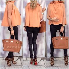 top, leather pants bought in France some years ago, leopard boots and 35 in color gold. Cute Maternity Outfits, Stylish Maternity, Maternity Wear, Maternity Fashion, Maternity Style, Pregnancy Fashion, Pregnancy Style, Stylish Pregnancy, Early Pregnancy