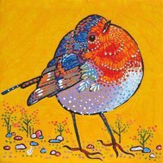 "Daily Paintworks - ""Fancy Robin"" - Original Fine Art for Sale - © Dorothy Jenson"