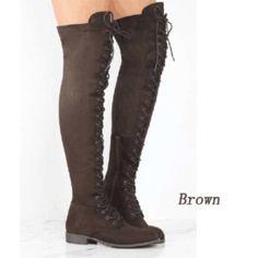 12379afcbab6 2018 Women Boots Women Fashino Cross Tied Over The Knee Round Toe Flat Heels  Boots Women