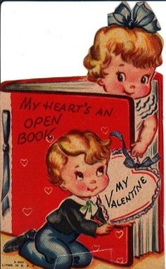 """My heart's an open book"" vintage Valentine, shared by steely*elf on Flickr."