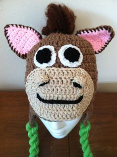 Bullseye the Horse Crocheted Hat by IsaacsBirdBrains on Etsy, $16.00
