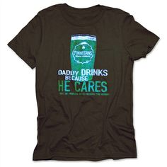 "Get on board the Finnegans DLYC campaign in this funny, and philanthropic, tee! Featuring a Finnegans pint and the ""Daddy Drinks Because He Cares"" slogan, with a ""Drink Like You Car"" detail on the back neck, this tee is the perfect gift."