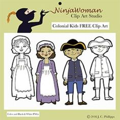 Let's go back to Colonial Times, where the kids are busy with chores and games. This FREE set of clip art includes: Colonial Girl in Color Colonial Girl in Black & White Colonial Boy in Color and Colonial Boy in Black & White If you enjoy this FREE set and want more to go along with it, I have a full set of Colonial Kids playing games and doing chores on TPT.