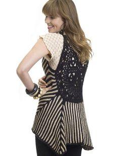 Yarnspirations.com - Caron Two-Tone Vest - Patterns  | Yarnspirations