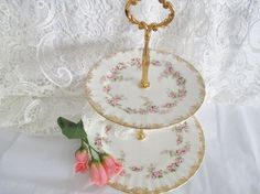 Royal Albert Dimity Rose 2-tier cake stand, tea party set, bridal shower, pink roses, excellent condition