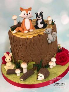 Boys First Birthday Cake, Animal Birthday Cakes, Animal Cakes, Squirrel Cake, Rabbit Cake, Bunny Rabbit, Tree Stump Cake, Nature Cake, Fox Cake
