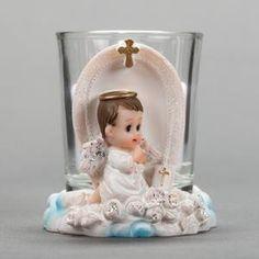Praying Angel poika pilviä Kynttilä Holder- Kaste Party Favor