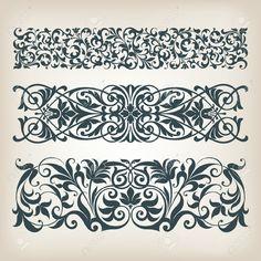 Vektor-Set Vintage Verzierten Bordürenrahmen Filigran Mit Retro-muster Im Antiken Barocken Stil Arabische Kalligraphie Dekorative Design Lizenzfrei Nutzbare Vektorgrafiken, Clip Arts, Illustrationen. Image 20365771.