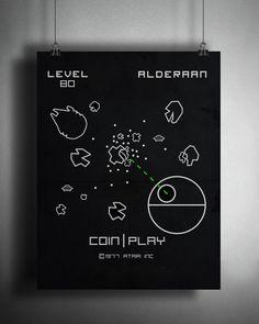 Retro Atari Asteroids Star Wars Alderaan by CreativeSpectator