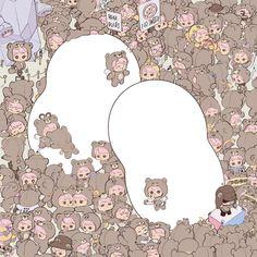 too many cute ninis 🐻 it's nini heaven the details. 🥺 jongin need to see this - fanart b Kai Arts, Exo Merch, Kaisoo, Kim Jong In, Exo Kai, Aesthetic Stickers, Handsome Boys, Chibi, Kids Rugs