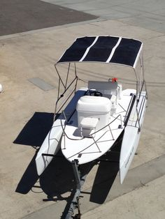 Convert a Used Beach Cat* to New Deck Boat for Harbor or Lake cruising, Family Boat, Bay or Lake Fishing Dock-level deck is ideal for elder boaters or handicapped. https://vimeo.com/143071391 Video: KONA Deck on 17ft Hobie Getaway Hulls complete with Torqeedo 2kw electric Motor w/ Kona Rudder/Foil steering kit, Bimini w/ 180W PowerFilm Solar with …