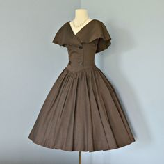 1950's chocolate brown party dress, Deoma's Vintage Boutique