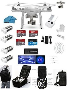 DJI Phantom 3 Advanced Quadcopter Drone with HD Camera EVERYTHING YOU NEED Kit 3 DJI Extra Batteries Prop Guards 3 SanDisk 64GB Micro SD Cards Reader Koozam Cleaning Cloth (With Backpack) drone reviews