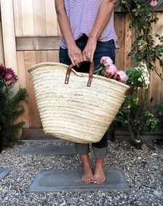 """French market basket tote. - 23"""" wide and 12"""" high - Handmade - Palm leaves - Leather handle approx. 4"""" high - **Free shipping**"""
