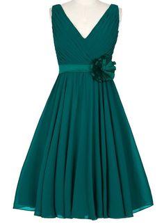 Dress U V-neck A-line Short Prom Dress Bridesmaid Dresses with Flower Sash Peacock US 4