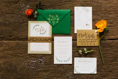 Rustic Glam Invitation Suite. ©Pill Photography #rusticglamwedding #glitterinvitation #bling #botanicalinvitation #papertreestudio #weddinginvitation #calligraphy