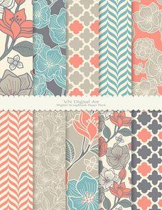 Floral Pattern Digital Scrapbook Paper Pack by VNdigitalart, $3.00