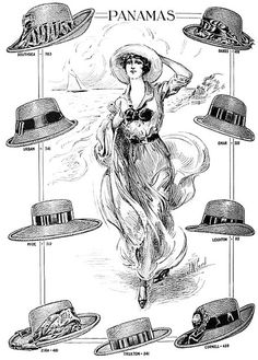 A lovely array of casual warm weather Burgesser Panama hats from 1911.