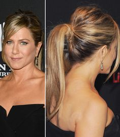 Jen Aniston's cocktail party ponytail