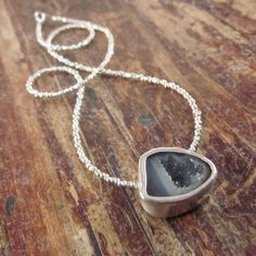 Mini Geode Necklace with Karen Hill Tribe Silver by TwoFeathersNY, $150.00