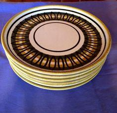 Mid Century Plates // Six(6) Small Dinner plates // Bavarian spiral pattern by ModernaireMCMStudios on Etsy