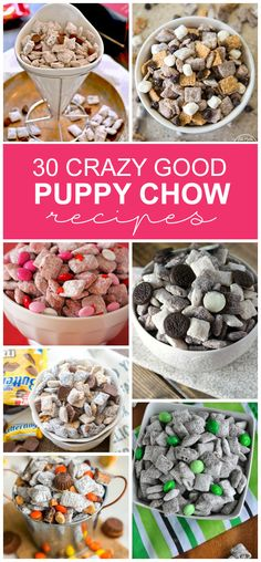 30 Crazy Good Puppy Chow Recipes 30 CRAZY GOOD PUPPY CHOW RECIPES - Kids Activities<br> If you love puppy chow then you are going to freak! We have dozens of new recipes for you to try. Which is the best puppy chow recipe? Best Puppy Chow Recipe, Puppy Chow Recipes, Chex Mix Recipes, Snack Recipes, Jello Recipes, Whole30 Recipes, Vegetarian Recipes, Cooking Recipes, Healthy Recipes